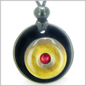 Double Lucky Donut Medallion Red Swarovski Eye Crystal Black Onyx Tiger Eye Protection Powers Pendant Necklace