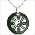 "Yin Yang BA GUA Eight Trigrams Amulet Black Onyx Magic Gemstone Stainless Steel Circle Spiritual Powers Pendant on 22"" Necklace"