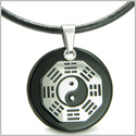 Yin Yang BA GUA Eight Trigrams Amulet Black Onyx Magic Gemstone Stainless Steel Circle Spiritual Powers Pendant Leather Necklace