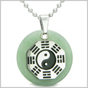 "Yin Yang BA GUA Eight Trigrams Amulet Green Aventurine Magic Gemstone Stainless Steel Circle Positive Power Pendant 18"" Necklace"