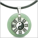 Yin Yang BA GUA Eight Trigrams Amulet Green Aventurine Gemstone Stainless Steel Circle Positive Powers Pendant Leather Necklace
