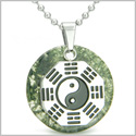 "Yin Yang BA GUA Eight Trigrams Amulet Green Moss Agate Magic Gemstone Stainless Steel Circle Positive Power Pendant 18"" Necklace"