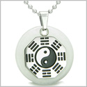 "Yin Yang BA GUA Eight Trigrams Amulet White Jade Magic Gemstone Stainless Steel Circle Good Luck Powers Pendant on 22"" Necklace"