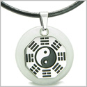 Yin Yang BA GUA Eight Trigrams Amulet White Jade Magic Gemstone Stainless Steel Circle Good Luck Powers Pendant Leather Necklace