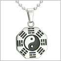 "Amulet Yin Yang BA GUA Eight Trigrams Stainless Steel Lucky Charm Pendant on 18"" Chain Necklace"