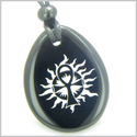 Ankh Egyptian Power of Life Sun Energy Spiritual Amulet Black Onyx Wish Totem Gem Stone Necklace Pendant