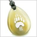 Lucky Bear Paw Kanji Good Luck Amulet Natural Agate Wish Totem Gem Stone Necklace Pendant