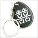 Lucky Double Happiness Magic Spiritual Amulet Black Onyx Wish Totem Gem Stone Keychain
