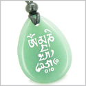 Tibetan Mantra Om Mani Padme Hum Good Luck Amulet Green Aventurine Wish Totem Gem Stone Necklace Pendant