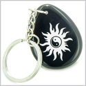Magic Positive Energy Sun Ying Yang Amulet Black Onyx Lucky Wish Stone Keychain