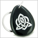 Amulet Triple Magic Energy Celtic Triquetra Shield Knot Spiritual Powers Black Onyx Wish Totem Gem Stone Keychain Ring