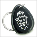 Amulet Magic Hamsa Hand and Evil Eye Reflection Spiritual Protection Powers Black Onyx Wish Totem Gemstone Keychain Ring