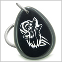 Amulet Courage and Protection Howling Wolf Spiritual Powers Black Onyx Wish Totem Gem Stone Keychain Ring