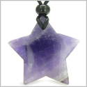 Amulet Magic Five Pointed Super Star Crystal Amethyst Gemstone Safety and Good Luck Powers Hand Carved Pendant Necklace