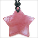 Amulet Magic Five Pointed Super Star Crystal Cherry Quartz Gemstone Safety and Good Luck Powers Hand Carved Pendant Necklace