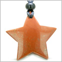 Amulet Magic Five Pointed Super Star Crystal Red Jasper Gemstone Positive and Good Luck Powers Hand Carved Pendant Necklace
