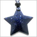 Amulet Magic Five Pointed Super Star Crystal Blue Gold Stone Gemstone Positive and Good Luck Powers Hand Carved Pendant Necklace