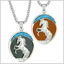Courage Horse Wild Moon Mustang Love Couples or Best Friends Simulated Onyx Red Jasper Necklaces
