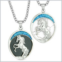 Courage Horse Wild Mustang Love Couple or Best Friends Simulated Onyx Simulated White Turquoise Necklaces