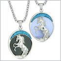 Courage Horse Wild Mustang Love Couples or Best Friends Simulated Onyx Simulated Blue Cats Eye Necklaces