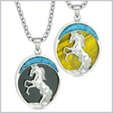 Courage Horse Wild Moon Mustang Love Couples or Best Friends Simulated Black Onyx Tiger Eye Necklaces