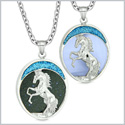 Courage Horse Wild Mustang Love Couples or Best Friends Blue Goldstone Simulated Blue Cats Eye Necklaces
