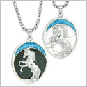 Courage Horse Wild Mustang Love Couple or Best Friends Blue Goldstone Simulated White Turquoise Necklaces