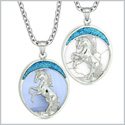 Courage Horse Wild Mustang Love Couple Best Friends Simulated Blue Cats Eye Simulated Turquoise Necklaces