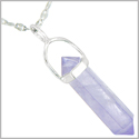 "Amulet 925 Sterling Silver Lilac Amethyst Crystal Point Natural Energy Safety Protection Powers Pendant on 18"" Steel Necklace"