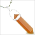 "Amulet 925 Sterling Silver Carnelian Crystal Point Natural Energy Evil Eye Protection Powers Pendant on 18"" Steel Necklace"