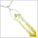 "Amulet 925 Sterling Silver Citrine Crystal Point Natural Energy Good Luck Powers Pendant on 22"" Steel Necklace"