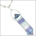 Amulet 925 Sterling Silver Fluorite Crystal Point Natural Energy Aura Protection Powers Pendant on 22� Steel Necklace