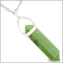 "Amulet 925 Sterling Silver Green Jade Crystal Point Natural Energy Evil Eye Protection Powers Pendant on 18"" Steel Necklace"