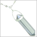 Amulet 925 Sterling Silver Hematite Crystal Point Natural Energy Evil Eye Protection Powers Pendant on 22� Steel Necklace
