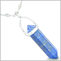 "Amulet 925 Sterling Silver Lapis Lazuli Crystal Point Natural Energy Healing Powers Pendant on 18"" Steel Necklace"