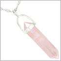 "Amulet 925 Sterling Silver Rose Quartz Crystal Point Natural Energy Love Powers Pendant on 22"" Steel Necklace"