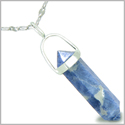 Amulet 925 Sterling Silver Sodalite Crystal Point Natural Energy Good Luck Powers Pendant on 22� Steel Necklace
