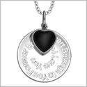 "My Heart Belongs to You Forever Inspirational Pendant Simulated Onyx Heart Charm Amulet 18"" Necklace"