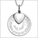 "My Heart Belongs to You Forever Inspirational Pendant White Cats Eye Heart Charm Amulet 22"" Necklace"