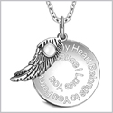 "My Heart Belongs to You Forever Inspirational Pendant White Cats Eye Angel Wing Amulet 22"" Necklace"