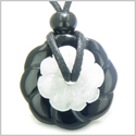 Double Lucky Amulet Ying Yang Magic Flowers Donuts Black Onyx White Jade Gemstones Spiritual and Good Luck Pendant Necklace