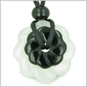 Double Lucky Amulet Ying Yang Magic Flowers Donuts White Jade Black Onyx Gemstones Spiritual and Good Luck Pendant Necklace