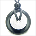Double Lucky Amulet Ying Yang Donuts Black Onyx and White Jade Gemstones Spiritual and Good Luck Powers Magic Pendant Necklace