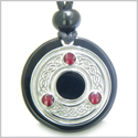 Amulet Celtic Triquetra Protection Knot Spiritual Powers Magic Circle Medallion Black Onyx Gemstone Pendant Adjustable Necklace