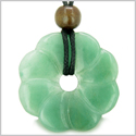 Large Flower Lucky Charm Donut Amulet Magic Green Aventurin Gemstone Crystal Money Good Luck Powers Pendant Necklace