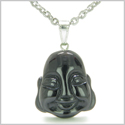 Amulet Lycky Charm Happy Buddha Face Black Onyx Spiritual Protection Powers Gemstone Pendant on 22� Stainless Steel Necklace