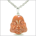 Amulet Lycky Charm Happy Buddha Face Red Jasper Believe Powers Gemstone Pendant on 22� Stainless Steel Necklace