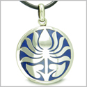 Amulet Ancient Lotus Flower Tibetan Symbol Magic Powers Lapis Lazuli Medallion Pendant on Leather Cord Necklace