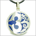 Amulet Ancient OM Tibetan Symbol Magic Powers Lapis Lazuli Medallion Pendant on Leather Cord Necklace