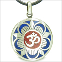 Amulet Ancient OM and Magic Lotus Tibetan Symbol Lapis Lazuli and Red Turquoise Medallion Pendant on Leather Cord Necklace